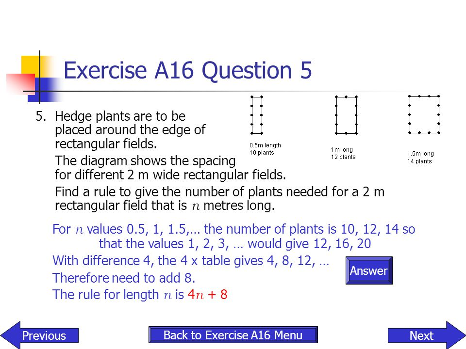 Exercise A16 Question 5 5. Hedge plants are to be placed around the edge of rectangular fields. The diagram shows the spacing for different 2 m wide r