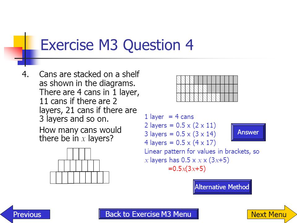 Answer Exercise M3 Question 4 4.Cans are stacked on a shelf as shown in the diagrams. There are 4 cans in 1 layer, 11 cans if there are 2 layers, 21 c