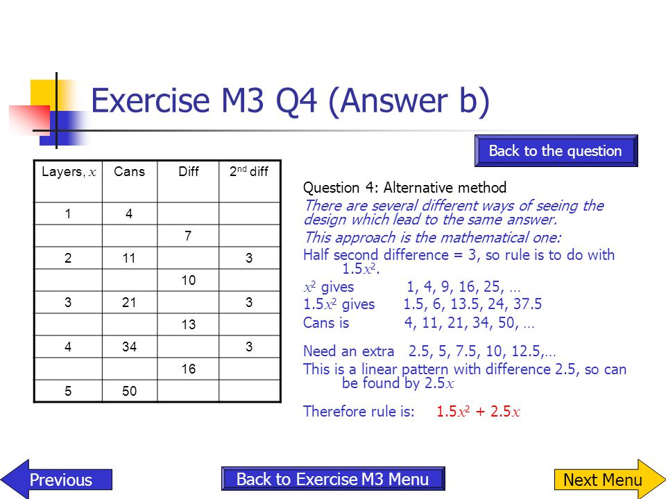 Exercise M3 Q4 (Answer b) Layers, x CansDiff2 nd diff 14 7 2113 10 3213 13 4343 16 550 Question 4: Alternative method There are several different ways