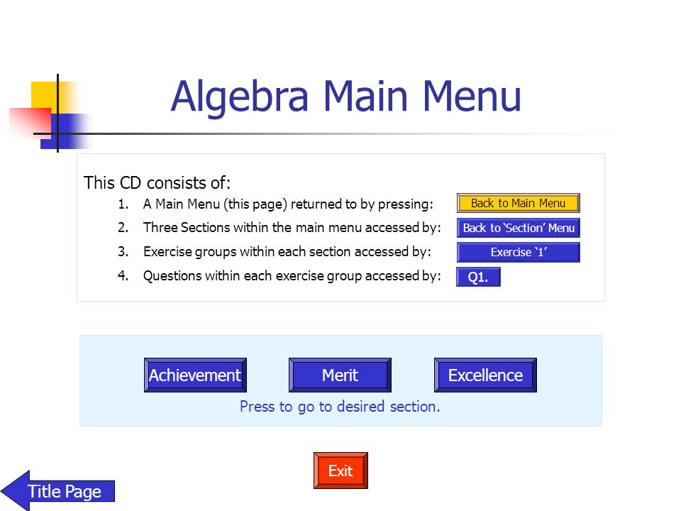 Algebra Main Menu Achievement MeritExcellence Press to go to desired section. Exit Title Page This CD consists of: 1.A Main Menu (this page) returned