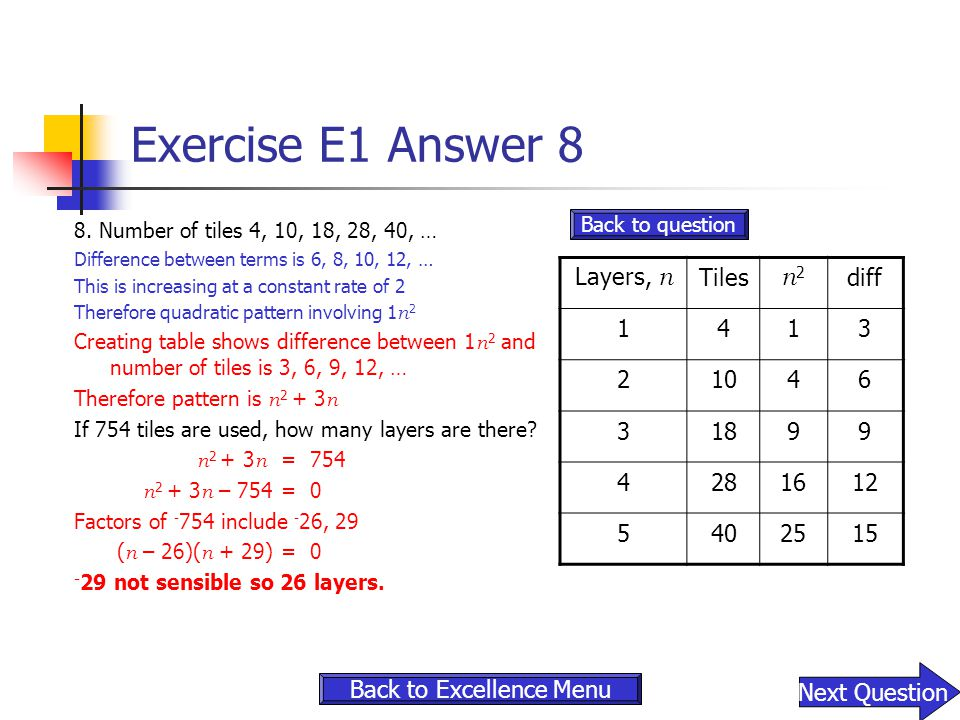 Exercise E1 Answer 8 8. Number of tiles 4, 10, 18, 28, 40, … Difference between terms is 6, 8, 10, 12, … This is increasing at a constant rate of 2 Th
