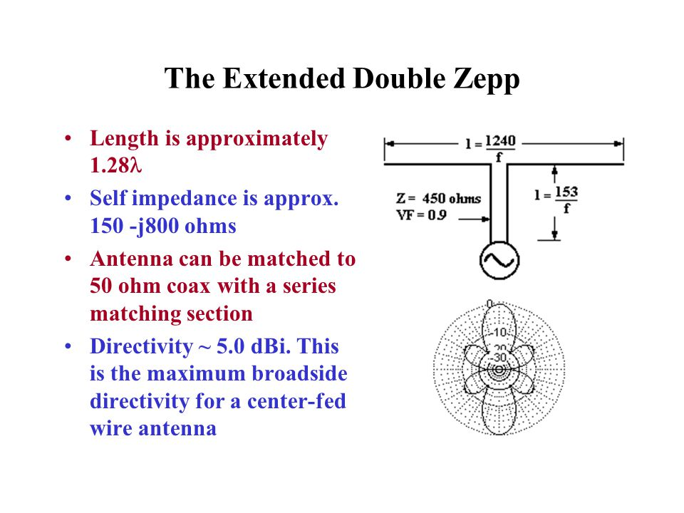 The Extended Double Zepp Length is approximately 1.28 Self impedance is approx. 150 -j800 ohms Antenna can be matched to 50 ohm coax with a series mat