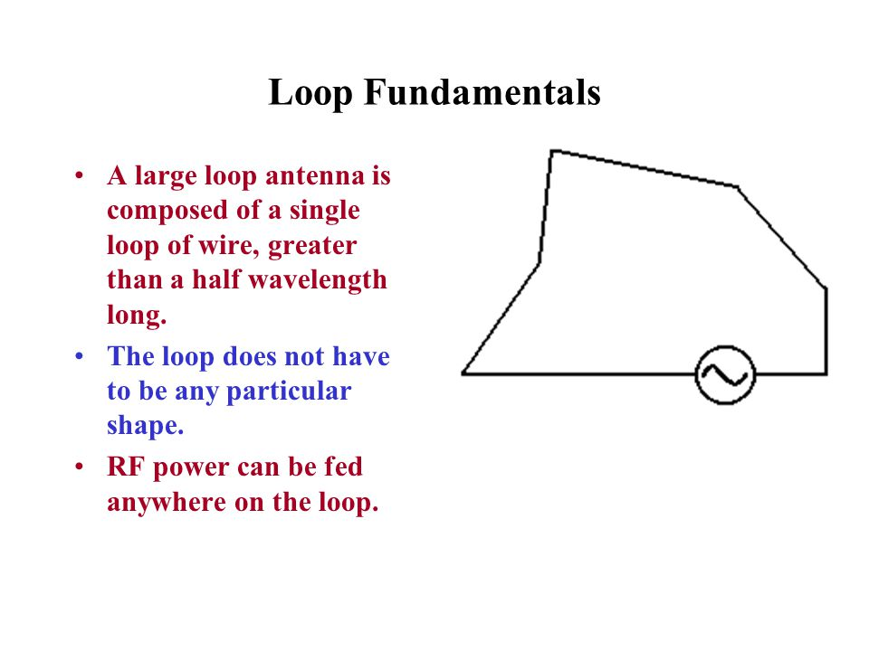 Loop Fundamentals A large loop antenna is composed of a single loop of wire, greater than a half wavelength long. The loop does not have to be any par