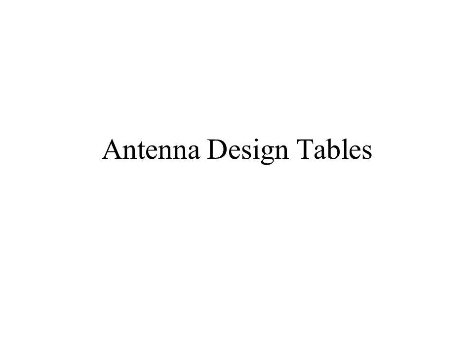 Antenna Design Tables
