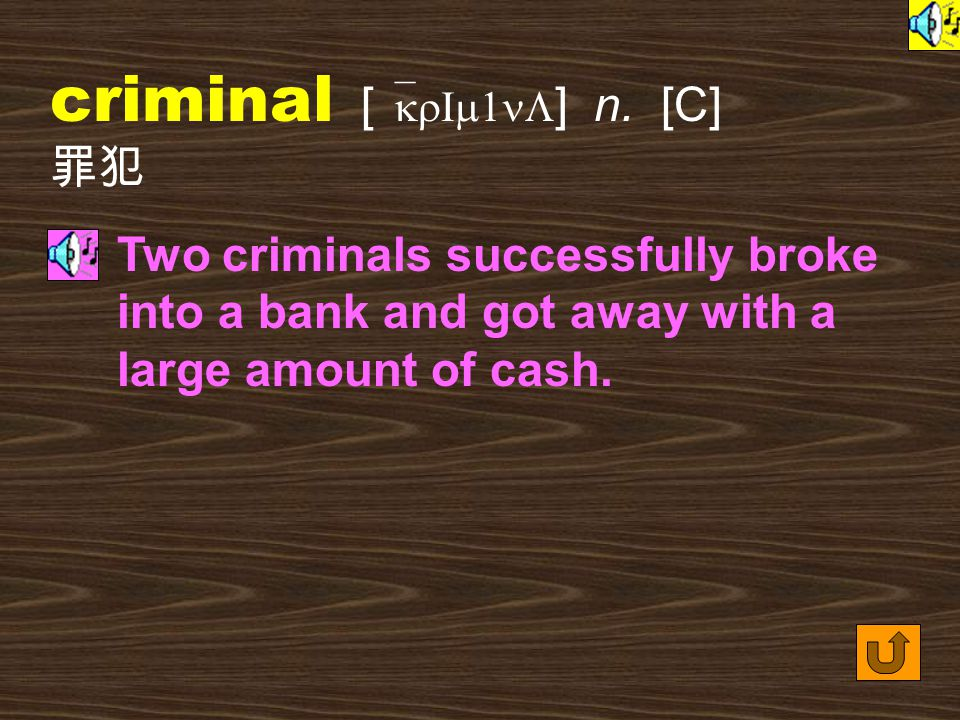 Words for Production 24. crime [ kraIm ] n. [C] a serious mistake; an illegal action or activity for which a person can be punished by law 過錯;罪行 It's