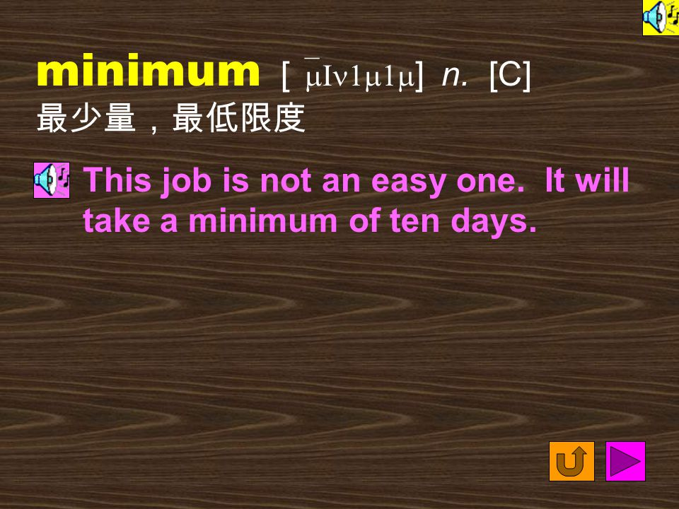Words for Production 32. minimum [ `mIn1m1m ] adj. the lowest, smallest or least 最少的; 最低極限的 Come to our store this week and get the best quality furni