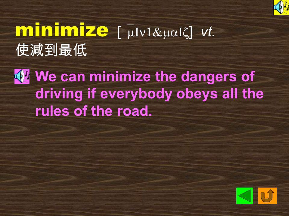 minimum [ `mIn1m1m ] n. [C] 最少量,最低限度 This job is not an easy one.