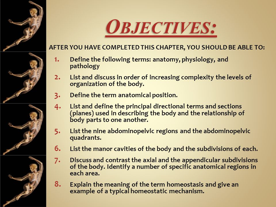 O BJECTIVES : 1. Define the following terms: anatomy, physiology, and pathology 2.