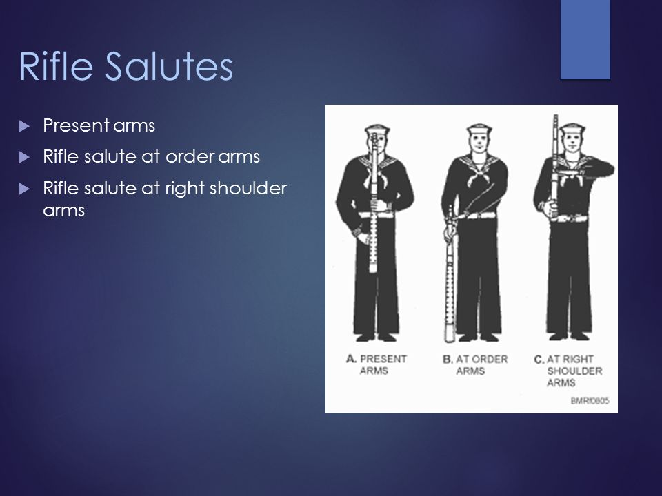Rifle Salutes  Present arms  Rifle salute at order arms  Rifle salute at right shoulder arms
