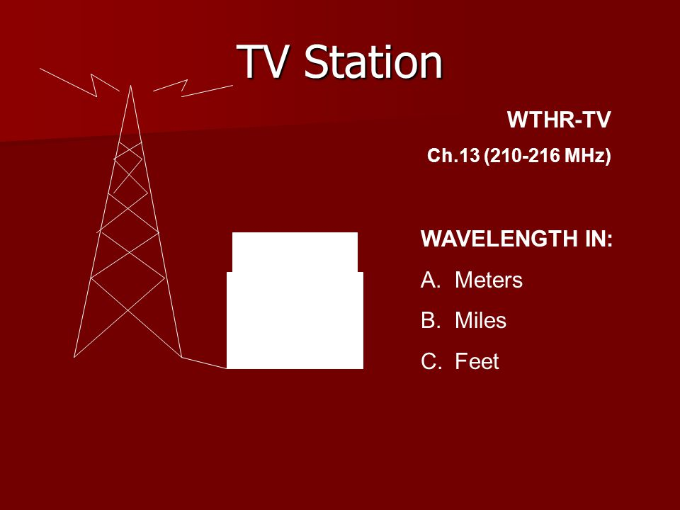 TV Station WTHR-TV Ch.13 (210-216 MHz) WAVELENGTH IN: A.Meters B.Miles C.Feet