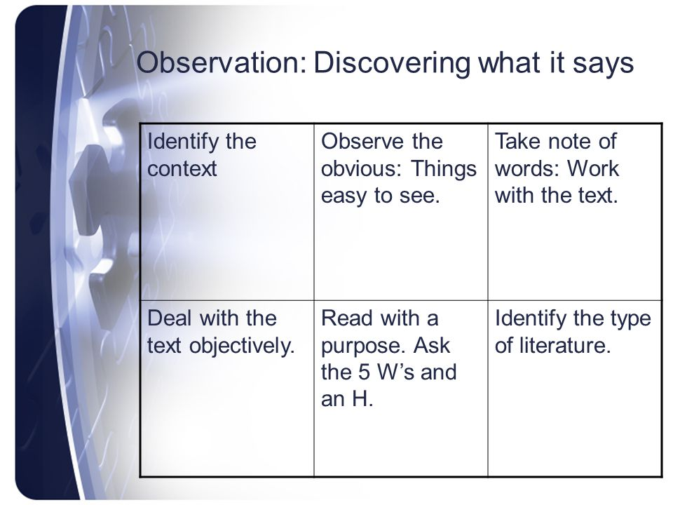 Observation: Discovering what it says Identify the context Observe the obvious: Things easy to see.