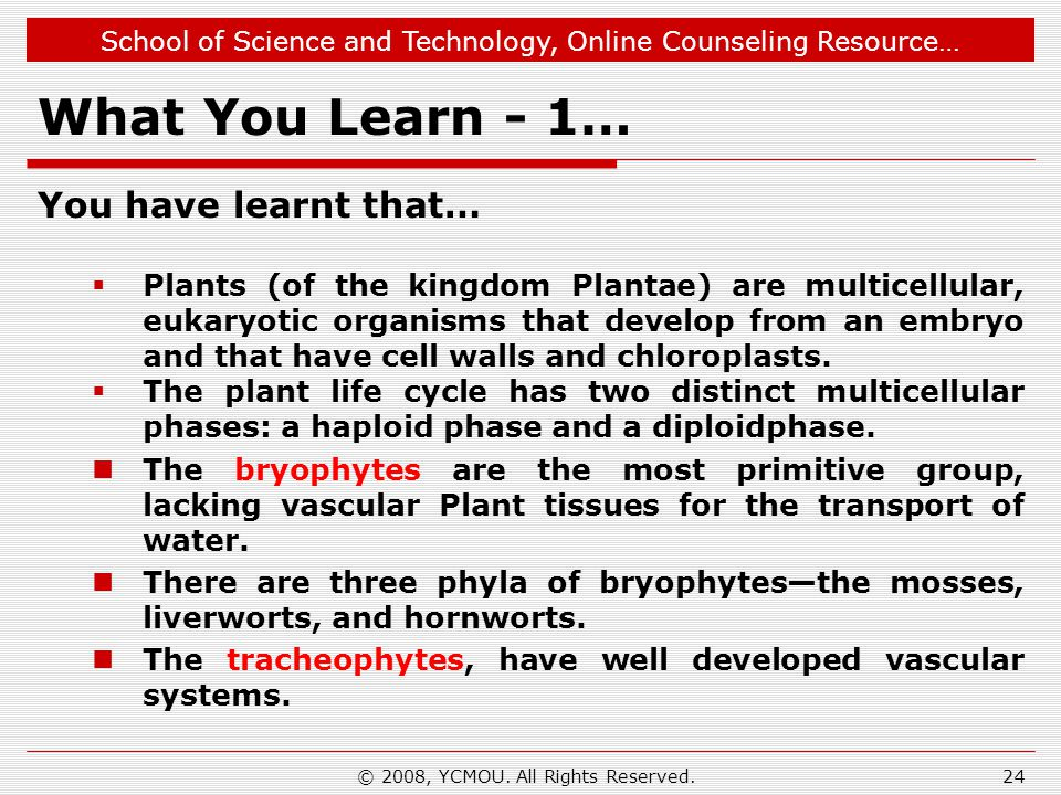 School of Science and Technology, Online Counseling Resource… What You Learn - 1… You have learnt that…  Plants (of the kingdom Plantae) are multicellular, eukaryotic organisms that develop from an embryo and that have cell walls and chloroplasts.