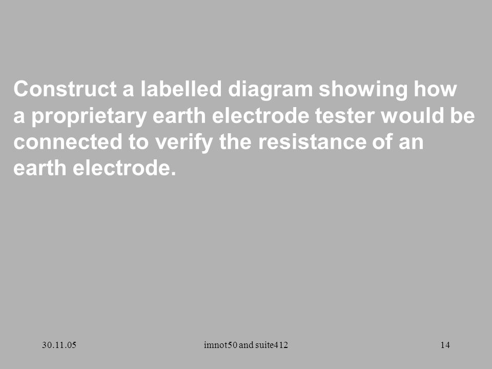 30.11.05imnot50 and suite41214 Construct a labelled diagram showing how a proprietary earth electrode tester would be connected to verify the resistance of an earth electrode.