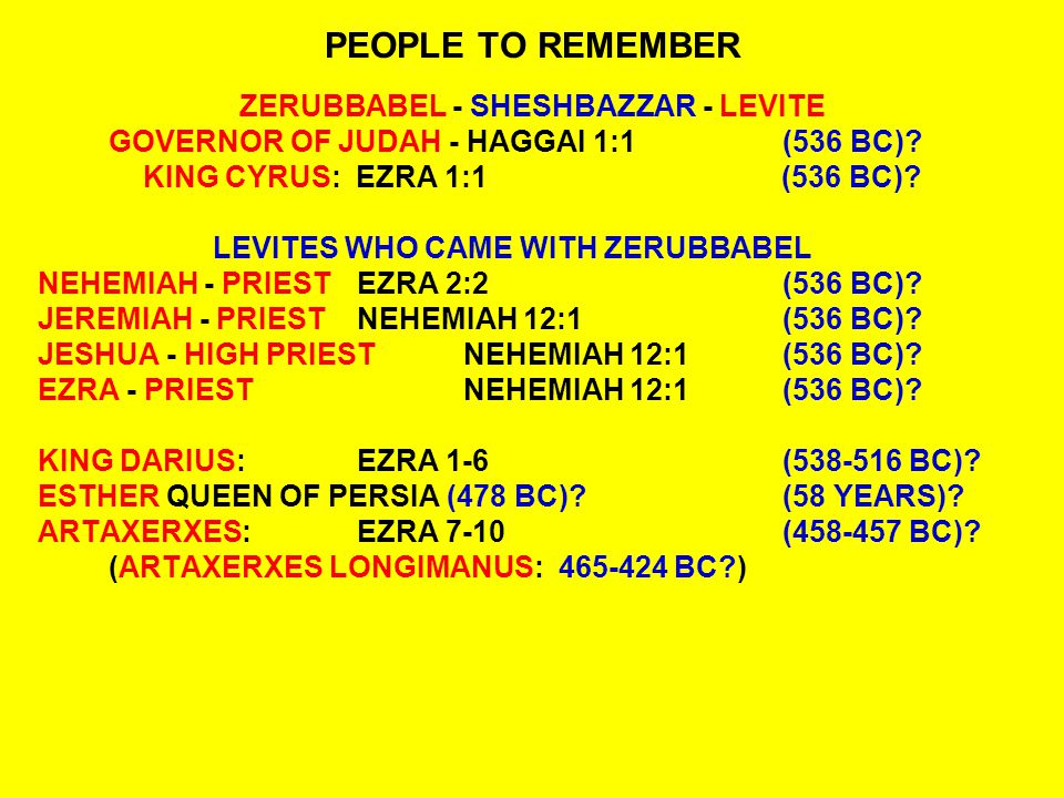 PEOPLE TO REMEMBER ZERUBBABEL - SHESHBAZZAR - LEVITE GOVERNOR OF JUDAH - HAGGAI 1:1(536 BC).