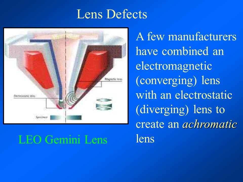 Lens Defects achromatic A few manufacturers have combined an electromagnetic (converging) lens with an electrostatic (diverging) lens to create an ach