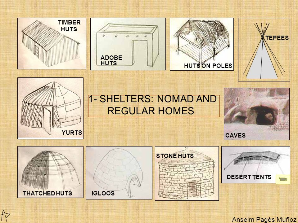 1- SHELTERS: NOMAD AND REGULAR HOMES IGLOOS TIMBER HUTS YURTS THATCHED HUTS STONE HUTS TEPEES ADOBE HUTS CAVES HUTS ON POLES DESERT TENTS Anselm Pagès Muñoz