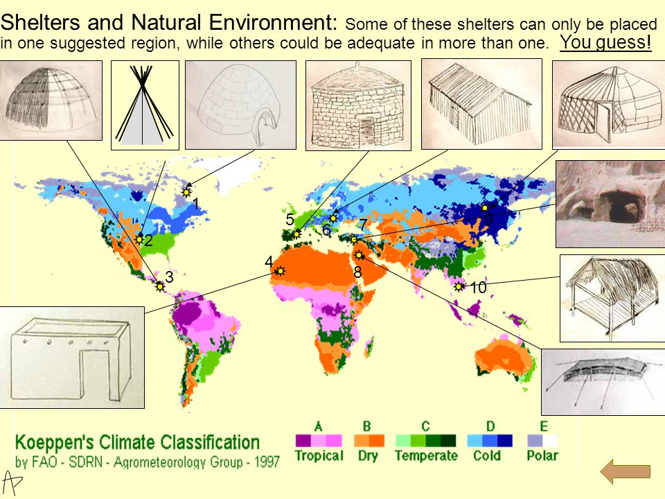 Shelters and Natural Environment: Some of these shelters can only be placed in one suggested region, while others could be adequate in more than one.