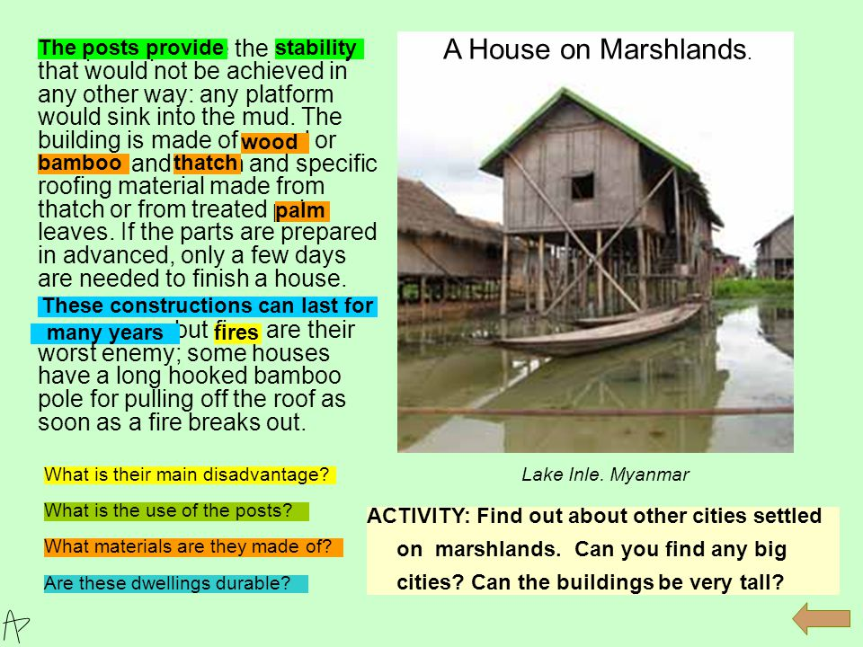 2 The basis of these buildings is a frame, (1) composed of vertical poles (2) and beams,(3) that supports the roof (3).