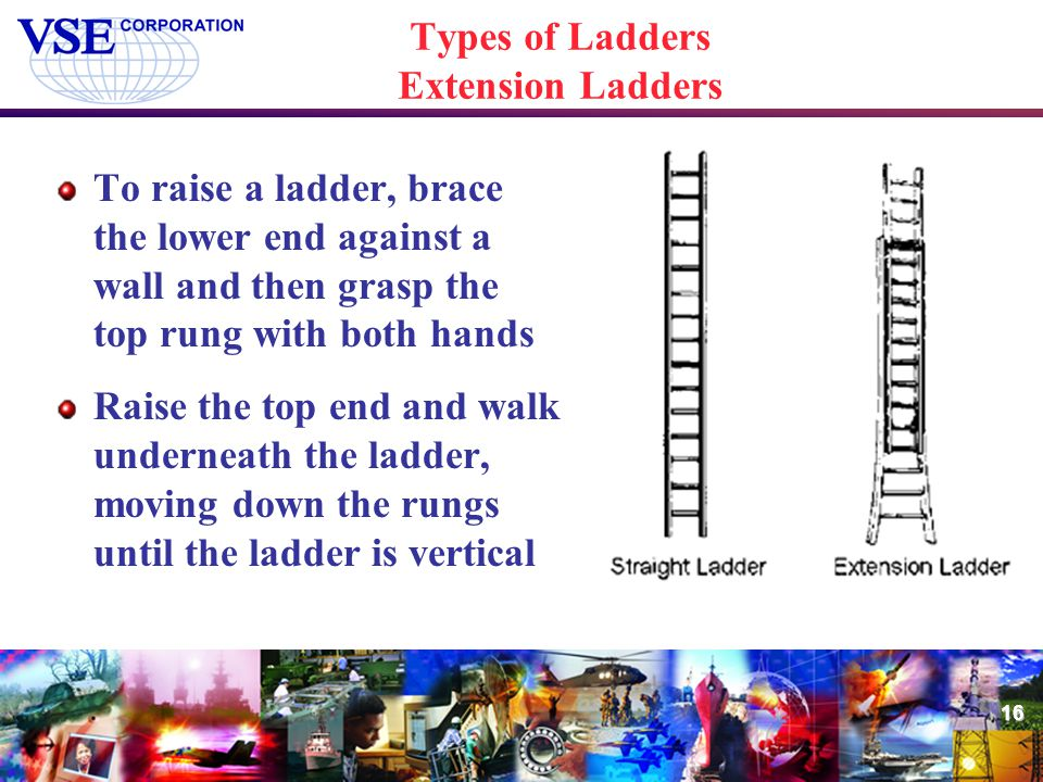 16 Types of Ladders Extension Ladders To raise a ladder, brace the lower end against a wall and then grasp the top rung with both hands Raise the top