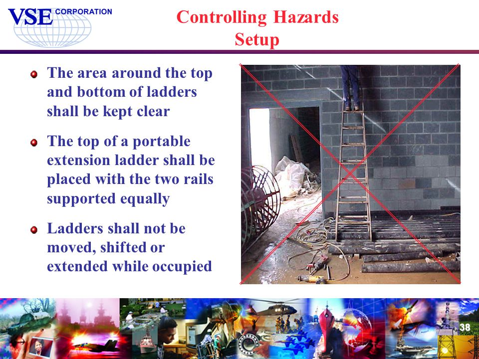 38 Controlling Hazards Setup The area around the top and bottom of ladders shall be kept clear The top of a portable extension ladder shall be placed