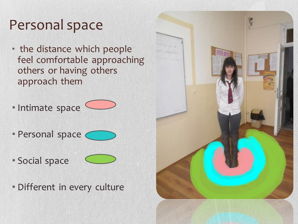 Personal space the distance which people feel comfortable approaching others or having others approach them Intimate space Personal space Social space