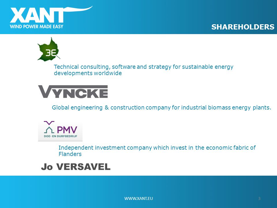 SHAREHOLDERS 3WWW.XANT.EU Global engineering & construction company for industrial biomass energy plants.