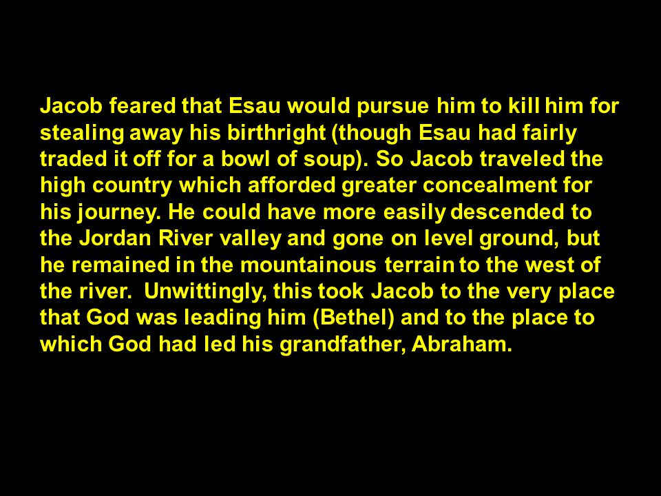 Jacob feared that Esau would pursue him to kill him for stealing away his birthright (though Esau had fairly traded it off for a bowl of soup).