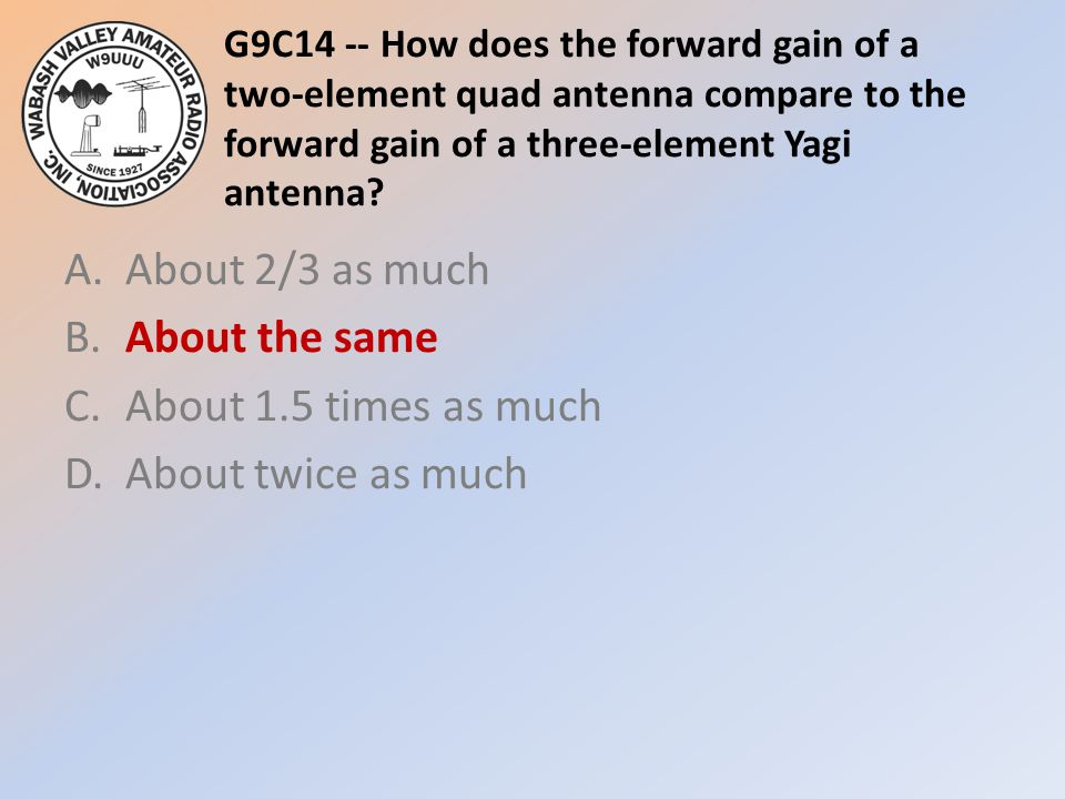 G9C14 -- How does the forward gain of a two-element quad antenna compare to the forward gain of a three-element Yagi antenna? A.About 2/3 as much B.Ab
