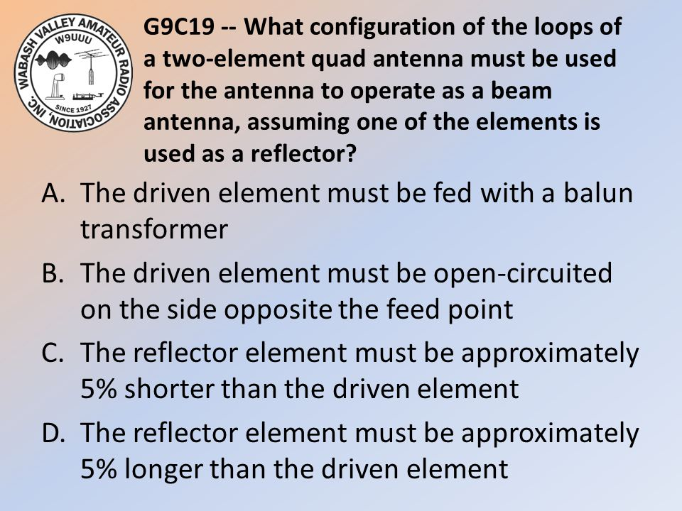 G9C19 -- What configuration of the loops of a two-element quad antenna must be used for the antenna to operate as a beam antenna, assuming one of the