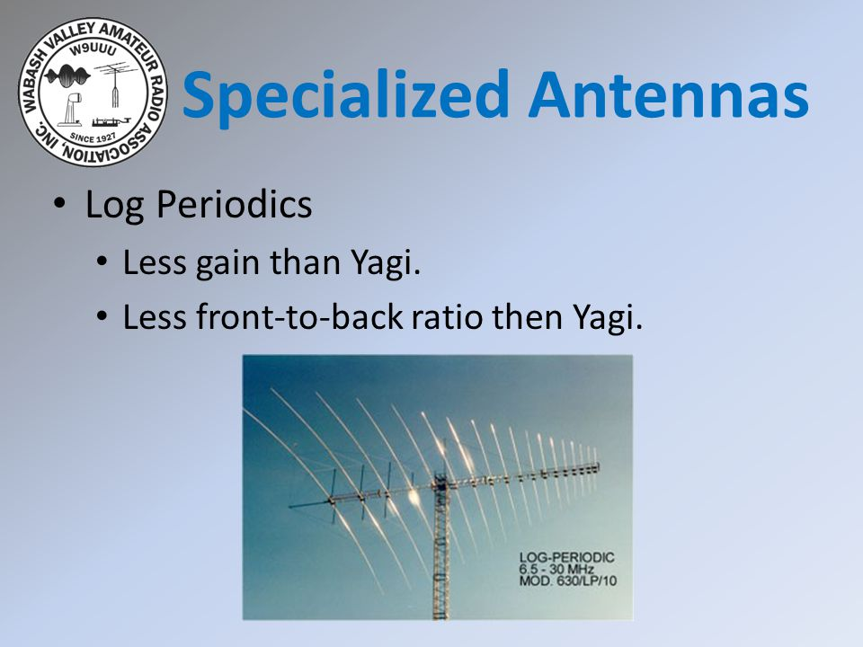 Log Periodics Less gain than Yagi. Less front-to-back ratio then Yagi. Specialized Antennas