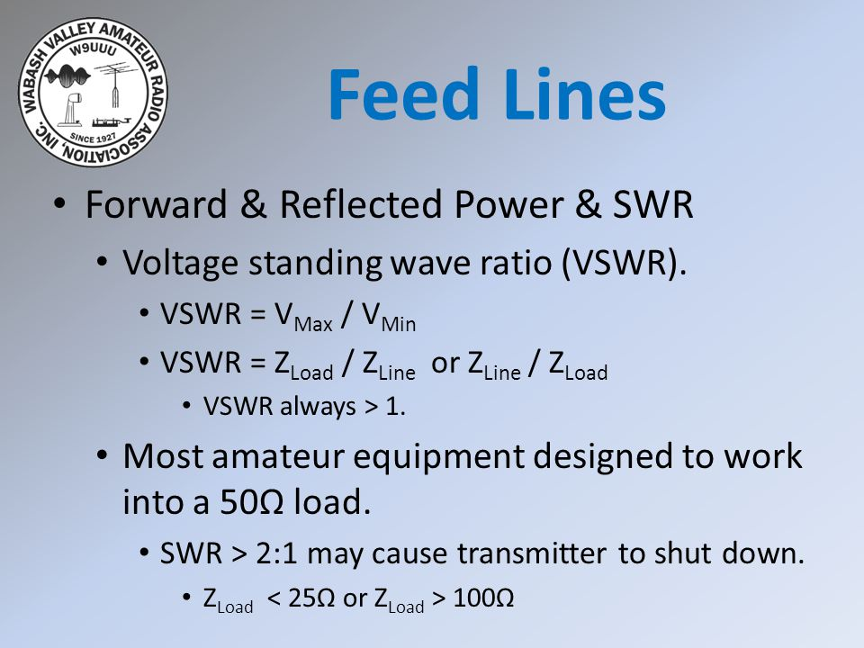 Forward & Reflected Power & SWR Voltage standing wave ratio (VSWR). VSWR = V Max / V Min VSWR = Z Load / Z Line or Z Line / Z Load VSWR always > 1. Mo