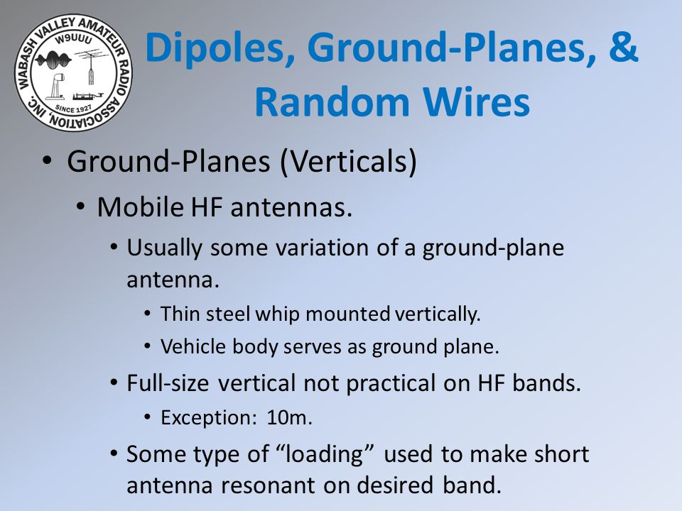 Ground-Planes (Verticals) Mobile HF antennas. Usually some variation of a ground-plane antenna. Thin steel whip mounted vertically. Vehicle body serve