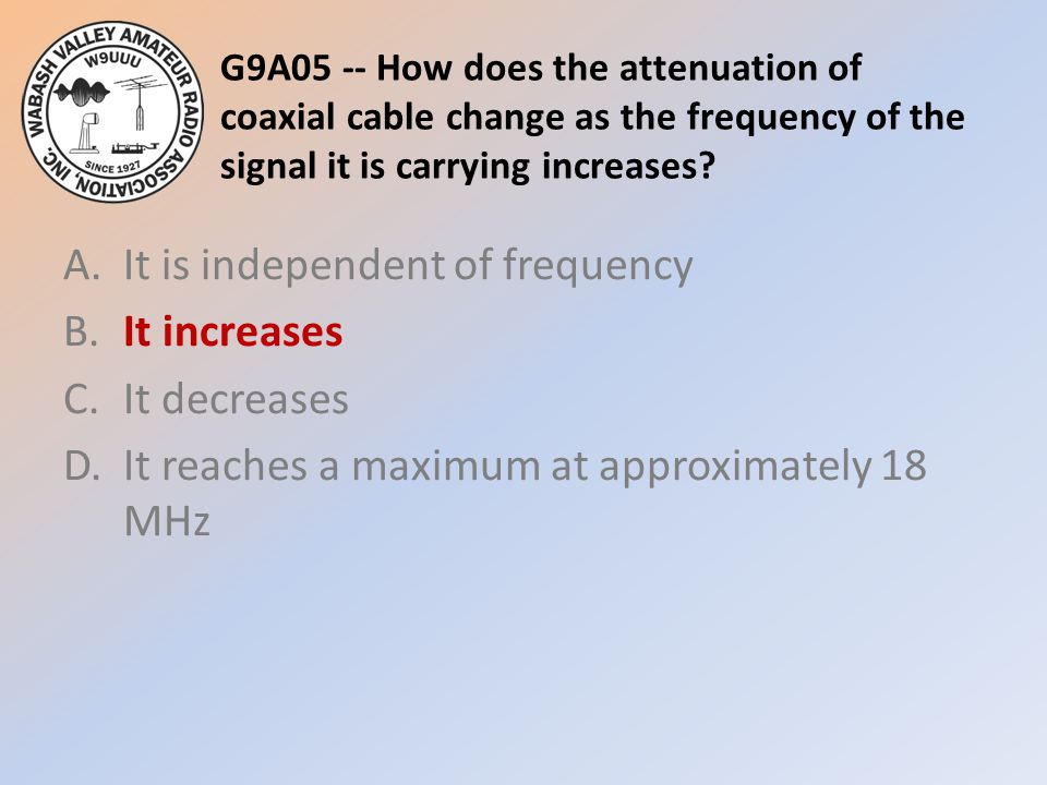 G9A05 -- How does the attenuation of coaxial cable change as the frequency of the signal it is carrying increases? A.It is independent of frequency B.