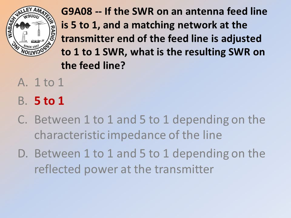 G9A08 -- If the SWR on an antenna feed line is 5 to 1, and a matching network at the transmitter end of the feed line is adjusted to 1 to 1 SWR, what