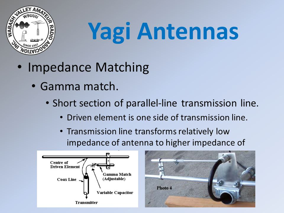 Impedance Matching Gamma match. Short section of parallel-line transmission line. Driven element is one side of transmission line. Transmission line t