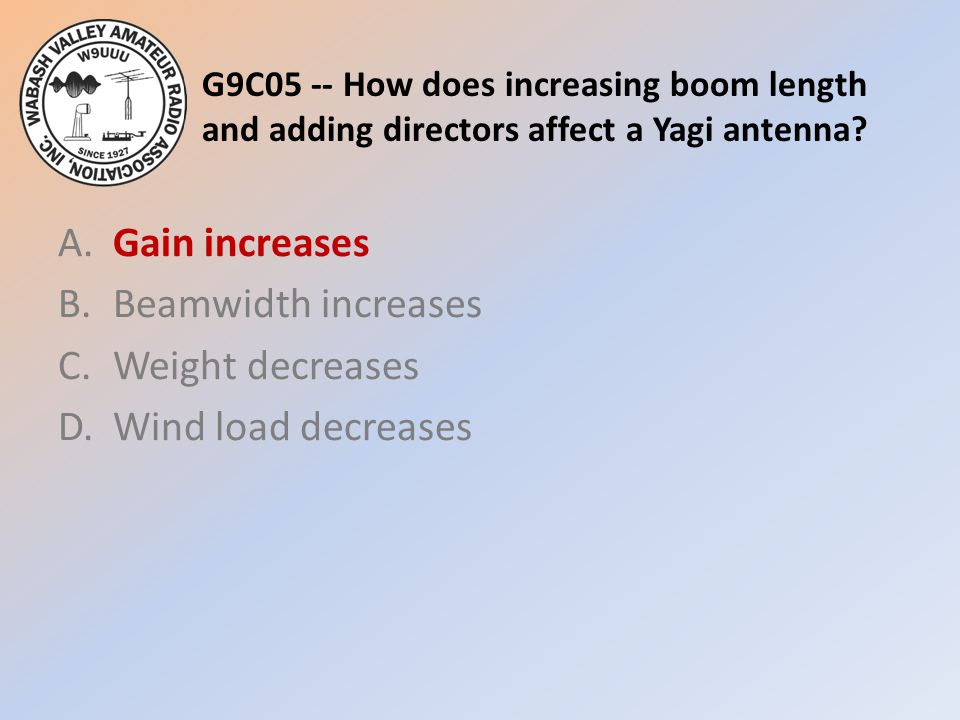 G9C05 -- How does increasing boom length and adding directors affect a Yagi antenna? A.Gain increases B.Beamwidth increases C.Weight decreases D.Wind