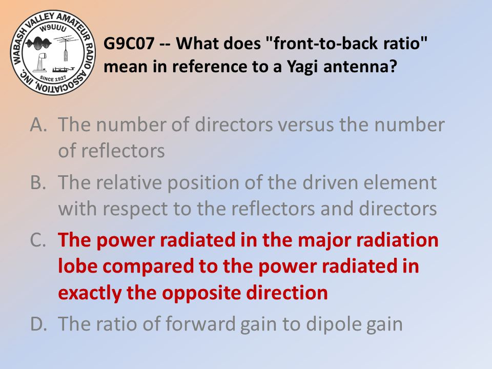 G9C07 -- What does front-to-back ratio mean in reference to a Yagi antenna.