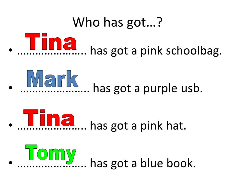 Who has got…. ………………….. has got a pink schoolbag.