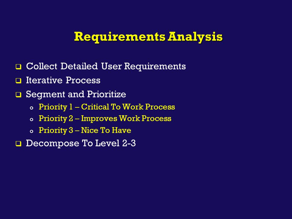  Collect Detailed User Requirements  Iterative Process  Segment and Prioritize o Priority 1 – Critical To Work Process o Priority 2 – Improves Work