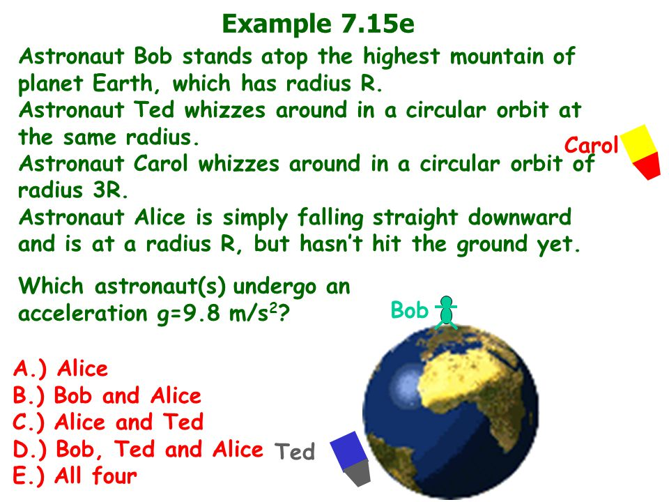 Example 7.15e Astronaut Bob stands atop the highest mountain of planet Earth, which has radius R. Astronaut Ted whizzes around in a circular orbit at