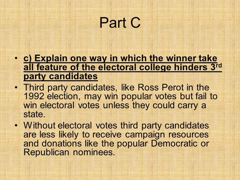 Part C c) Explain one way in which the winner take all feature of the electoral college hinders 3 rd party candidates Third party candidates, like Ros