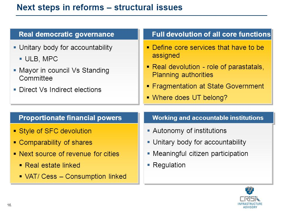 16. Real democratic governance Proportionate financial powers Full devolution of all core functions Next steps in reforms – structural issues  Unitar