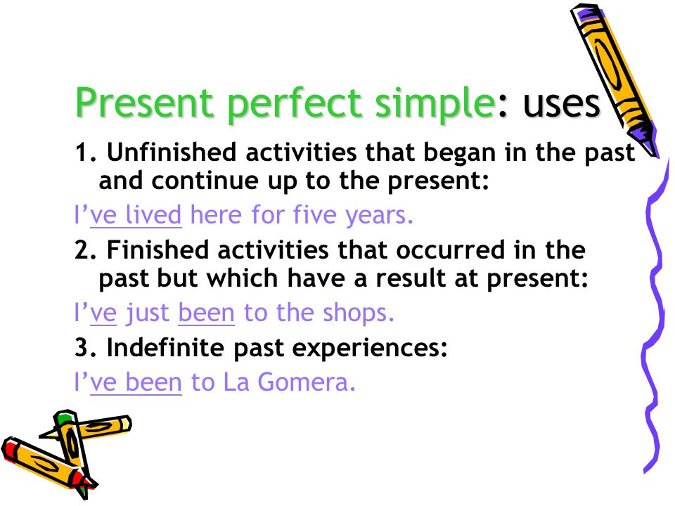 Present perfect simple: uses 1.