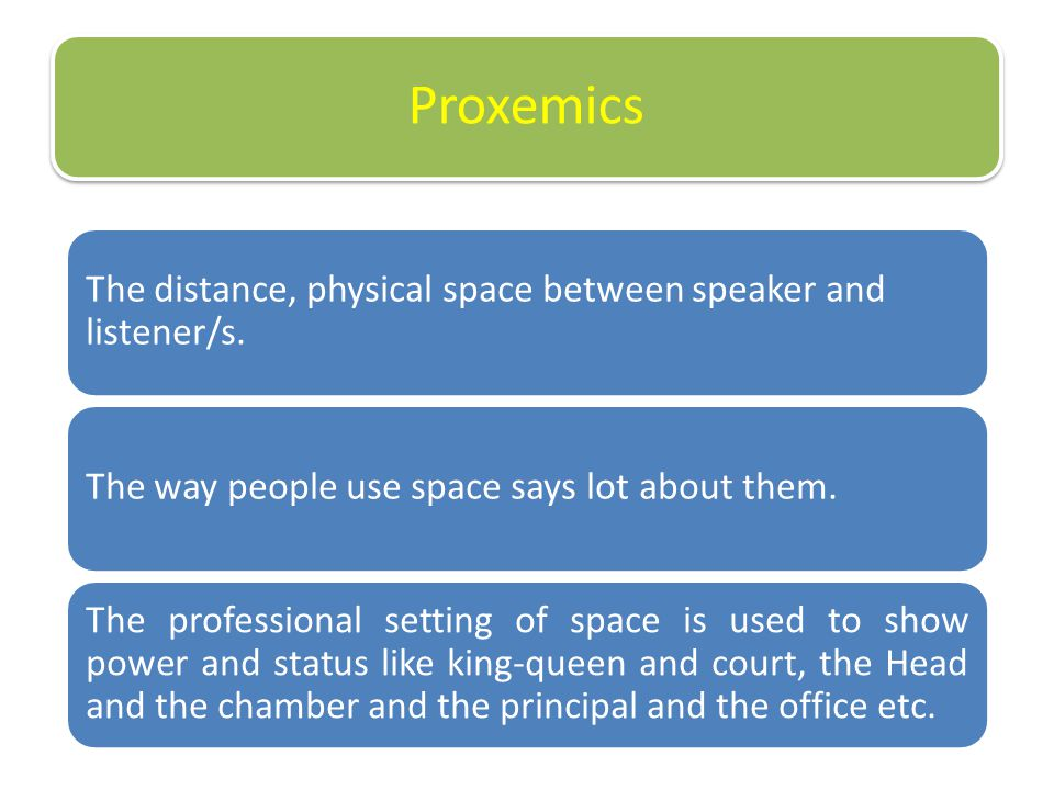 Proxemics ( Space/Distance)