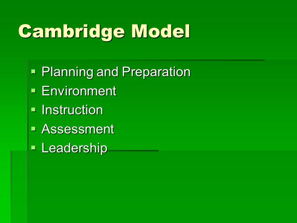 Cambridge Model  Planning and Preparation  Environment  Instruction  Assessment  Leadership