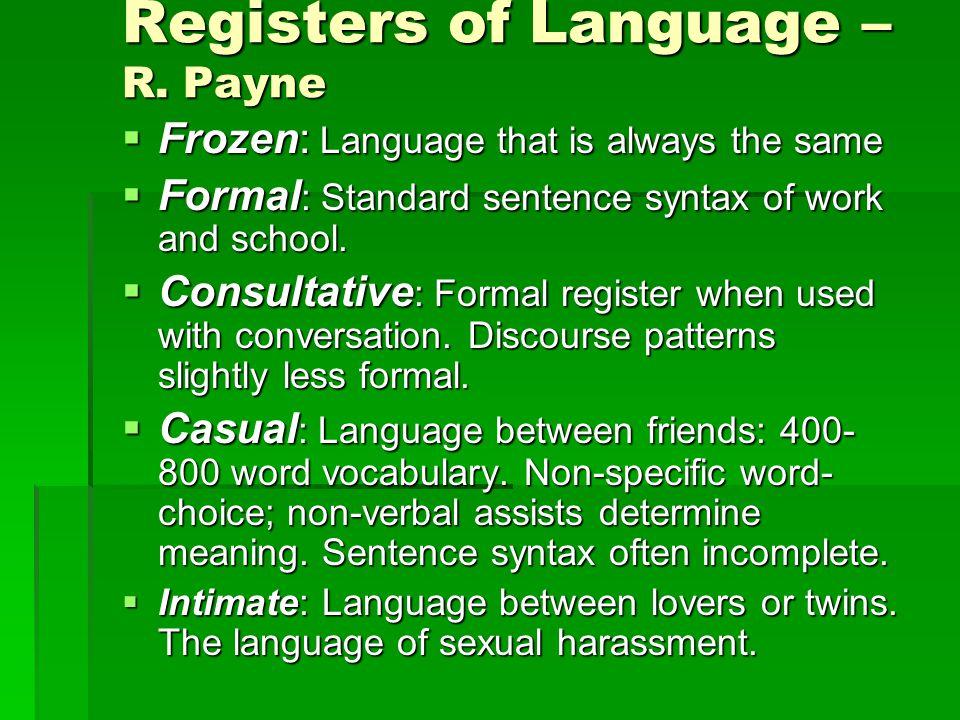 Registers of Language – R.