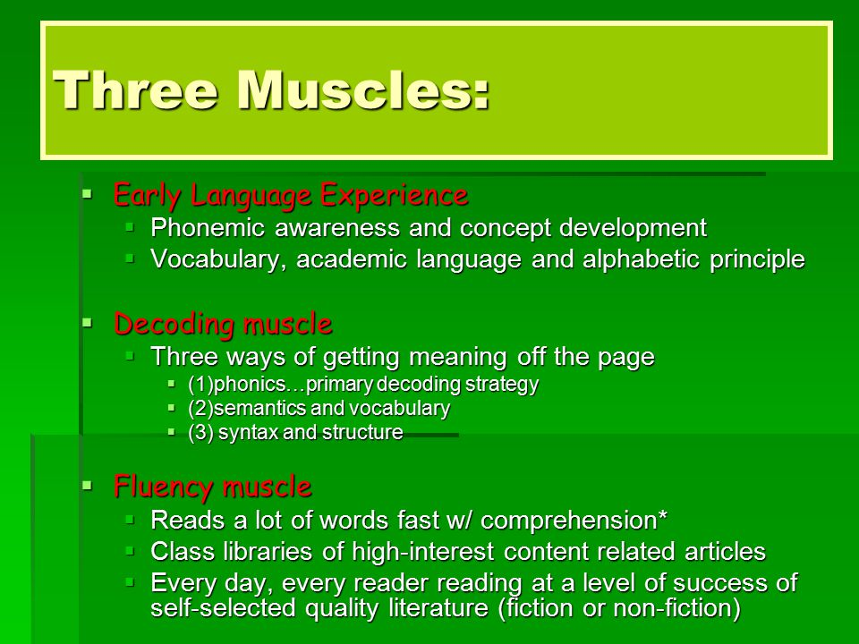 Three Muscles:  Early Language Experience  Phonemic awareness and concept development  Vocabulary, academic language and alphabetic principle  Decoding muscle  Three ways of getting meaning off the page  (1)phonics…primary decoding strategy  (2)semantics and vocabulary  (3) syntax and structure  Fluency muscle  Reads a lot of words fast w/ comprehension*  Class libraries of high-interest content related articles  Every day, every reader reading at a level of success of self-selected quality literature (fiction or non-fiction)