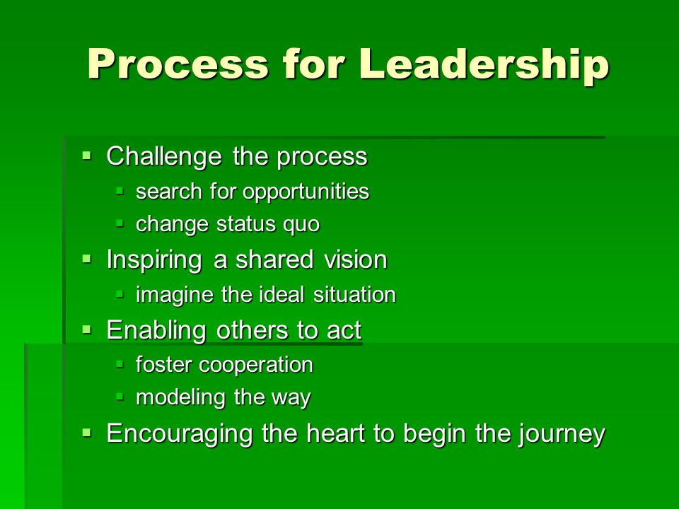 Process for Leadership  Challenge the process  search for opportunities  change status quo  Inspiring a shared vision  imagine the ideal situation  Enabling others to act  foster cooperation  modeling the way  Encouraging the heart to begin the journey