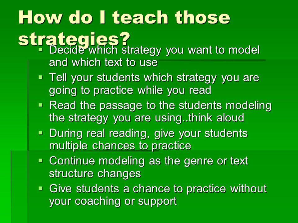 How do I teach those strategies.