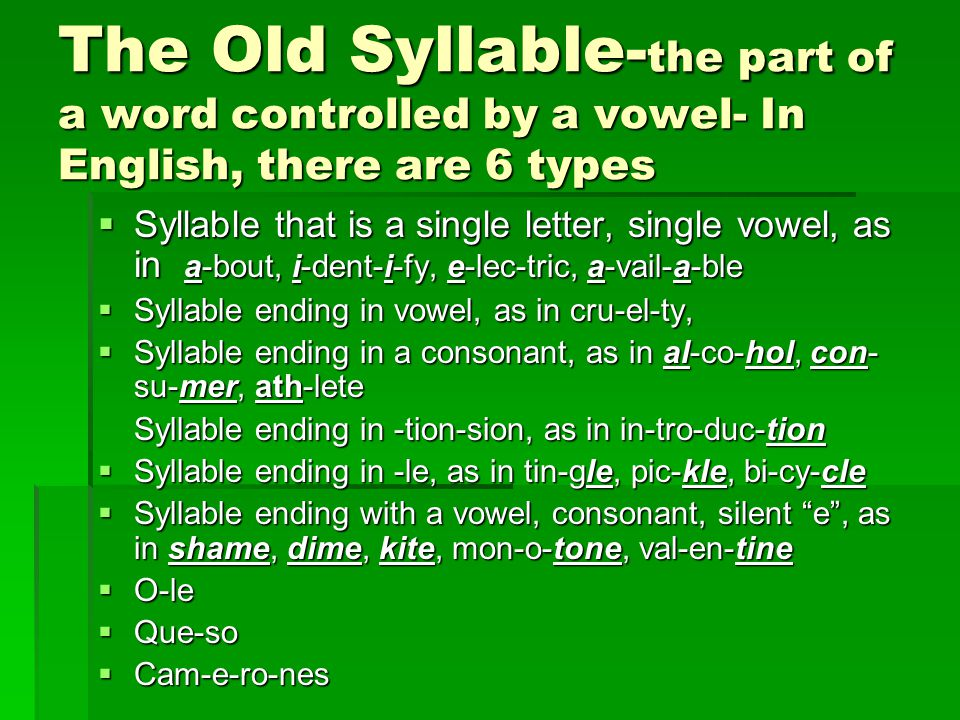 The Old Syllable- the part of a word controlled by a vowel- In English, there are 6 types  Syllable that is a single letter, single vowel, as in a-bout, i-dent-i-fy, e-lec-tric, a-vail-a-ble  Syllable ending in vowel, as in cru-el-ty,  Syllable ending in a consonant, as in al-co-hol, con- su-mer, ath-lete Syllable ending in -tion-sion, as in in-tro-duc-tion  Syllable ending in -le, as in tin-gle, pic-kle, bi-cy-cle  Syllable ending with a vowel, consonant, silent e , as in shame, dime, kite, mon-o-tone, val-en-tine  O-le  Que-so  Cam-e-ro-nes